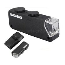 Handheld 60x-100x Zoom LED Pocket Microscope Magnifier Glass Jewelers Loupe