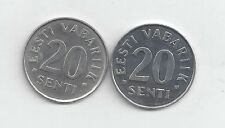2 DIFFERENT 20 SENTI COINS from ESTONIA DATING 1999 & 2006
