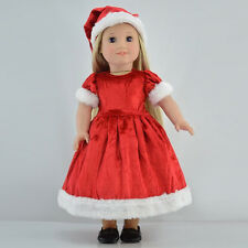 Dolls Christmas Dress Hat Shawl Clothes Set for 18 Inch American girl Doll Toys
