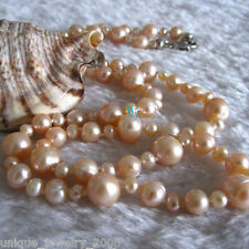 "24"" 4-10mm Peach Pink Freshwater Pearl Necklace Strand Jewelry"