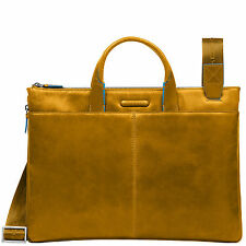 Piquadro Blue Square yellow leather Office tablet  bag CA1618B2/G