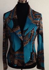 CLARA S Shiny Turquoise Brown Multicolor Floral Blazer Jacket SZ Small