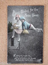 R&L Postcard: Best Wishes for the New Year, Two Young Children, 1918, Valentines