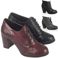 LADIES ANKLE BOOTS WOMENS BLOCK HIGH HEELS SMART OFFICE WORK BROGUE SHOES SIZE