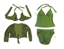 Sz XS/S - NWT $194 Sunsets 4-pc Sage 2 Halter Tops + 1 Bottoms + 1 Shrug