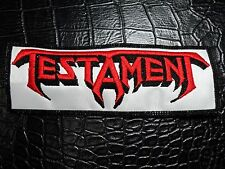 TESTAMENT RED AND WHITE LOGO EMBROIDERED PATCH