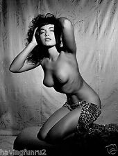 Bettie Page Bare Brested Studio Pose on Hassock  5 x 7  Photograph