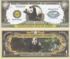 10 Panda Endangered Animal One Million Dollar Bill Lot