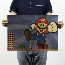 Super Mario Classic Game Vintage Room Bar Decor Chart Kraft Paper Retro Poster
