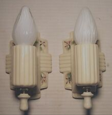 Vtg Art Deco Porcelain Sconce Wall Fixture Light Pair Clean Rewired USA #Z37