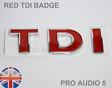 RED TDI BOOT BADGE - TURBO DIESEL - CAR VAN - UK VW Golf Bora Passat T4 MK4 MK5