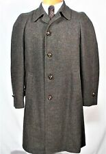 Vtg 40s 50s TWEED BROWN RED GREEN FLECK Top Over COAT Large leather Buttons