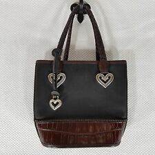 Brighton Small Bucket Bag Black Brown Handbag Purse Woven Strap
