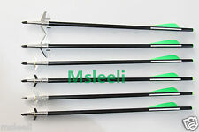 """6 Crossbow Bolts Arrows + 6 Cut 1.75"""" Swhacker Broadheads For Crossbow Hunting"""