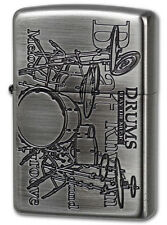 Zippo Lighter PLAY The MUSIC Drums Antique Nickel From Japan New