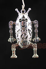1Pcs Metal Silver Lightning Robot Hollow Charms Pendants Findings 57x32mm