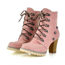 Ladies Womens faux suede Thick heels Snow shoes Lace Up NEW Ankle Boots US SIZE