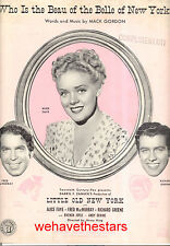 "LITTLE OLD NEW YORK ""Who Is The Beau Of The Belle of New York"" Alice Faye RARE"