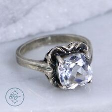 Silver Plated - Cushion-Cut Rhinestone Solitaire - Ring (9.5)