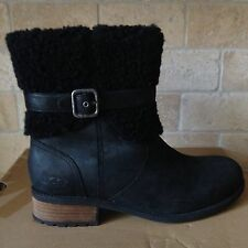 Ugg Blayre ll Black Leather Sheepskin Ankle Boots Boots US 7 Womens 1008220