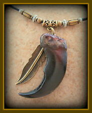 Indian style BEAR CLAW replica NECKLACE JEWELRY - Wild Animal Pendant w/ Feather
