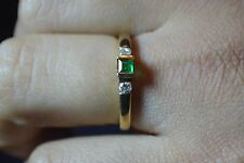 Brand New 9ct Yellow Gold square Emerald & 0.14 pt Diamond Ring size N