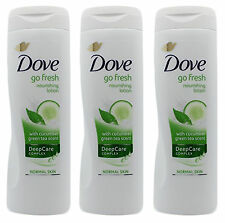 3 Dove Go Fresh Nourishing Body Lotion Cucumber Green Tea Scent Deep Care 400Ml