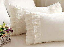 Shabby Chic Country Farmhouse French Lace Ruffles Cream Ruffle Edges Pillow Case