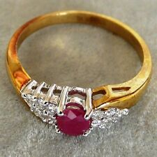 ** NEW ** 9ct Gold Ruby Solitaire and Diamonds Cocktail Ring Size Q 8
