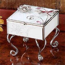 Dragonfly w/ Flower Metal Frame, Glass Square Necklace Bracelet Jewelry Box