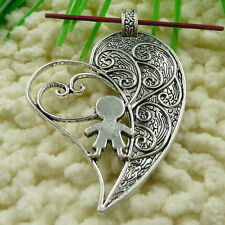 Free Ship 24 pieces tibetan silver boy heart pendant 65x45mm #1046