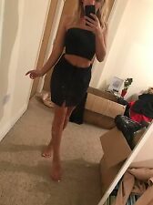 Size 10 Miss Pap Black Faux Suede High Waisted Short Mini Skirt Bodycon Tight BN