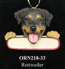 """Rottweiler Christmas Dog Ornament """"Santa's Pals"""" with Personalized Name Plate 33"""