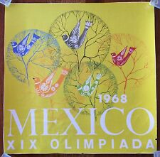 VINTAGE ORIGINAL 1968 MEXICO XIX OLIMPIADA POSTER OLYMPIC GAMES DOVES SMALL