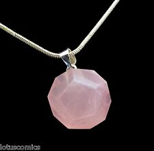 Dodecahedron (d-12) - Natural Pink Rose Quartz .925 SS Pendant -FREE SHIPPING