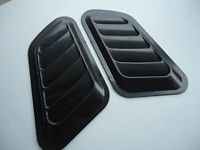 CAR HOOD SIDE FENDER AIR FLOW SCOOP DECORATION VENT COVER MATTE BLACK X 2 PIECES
