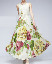 hawaii summer Flower floral chiffon sleeveless sun maxi long beach party dress