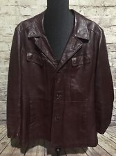 Vintage 70s Hipster Hollywood  Leather Sports Coat Jacket Mod Suit Dress EUC