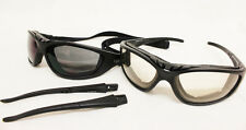 NEW Reactive Clear-Dark Lens Arm / Strap option Motorcycle Padded sunglasses