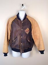 Harley Davidson Distressed Blue & Tan Leather Biker Baseball Snap Jacket Mn Sz L
