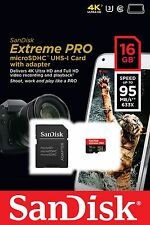 SANDISK EXTREME PRO MICRO SDHC 16GB CLASS 10 95MB/S UHS-3 MEMORY CARD SDSDQXP 4K