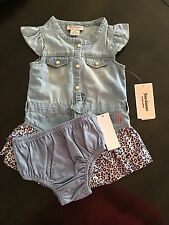 NWT Juicy Couture Baby Girls 2 Piece Dress & Diaper Cover Set, Size 18 Months