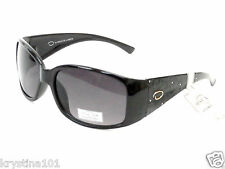 OSCAR DE LA RENTA 1195 BLACK CRYSTAL LOGO SHADES WRAP OSCAR SUNGLASSES NEW