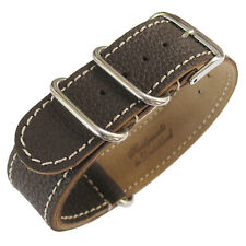 18mm Fluco Germany 2-Piece Mens Brown Leather MoD G10 Military Watch Band Strap