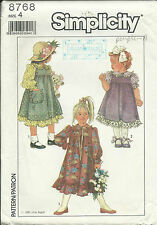 S 8768 sewing pattern Ruffled DRESS Pretty JUMPER sew SWEET old-fashioned size 4