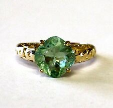 14k yellow gold womens green fluorite ladies gemstone ring 3.9g estate vintage