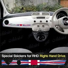 Sticker Fiat 500 Union Jack UK England dashboard Abarth for Right Hand Drive RHD