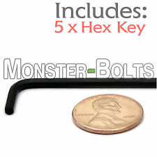 """3/32"""" Hex Tool / Allen Key - Qty 5 - BLACK ALLOY STEEL - Short Arm Wrench SAE"""