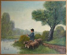 Vermok: Junger Hirte mit Schafen am Flußufer,  Ölgemälde,  33 x 41 cm