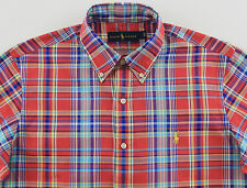 Men's RALPH LAUREN Red Colors Plaid Shirt 4XLT 4LT 4XT TALL NWT NEW Yellow Pony